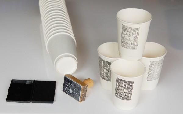Stempeln Sie IHR Logo To Go Cup Papier 40 Stk weiss & Deckel