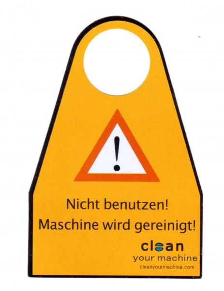 Warnschild Deutsch zur Maschinenreinigung