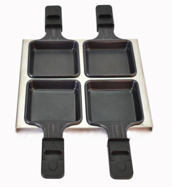 Grill Raclette Platte mit 4 Pfännchen